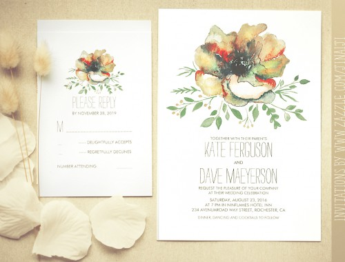 watercolor flower wedding invite