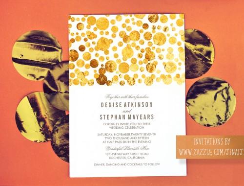 gold glitter confetti wedding invitation