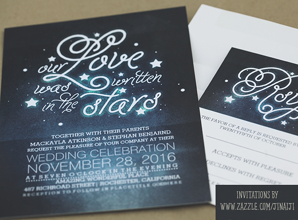 Night Wedding Invitations: OUR LOVE WAS WRITTEN IN THE STARS WEDDING INVITES