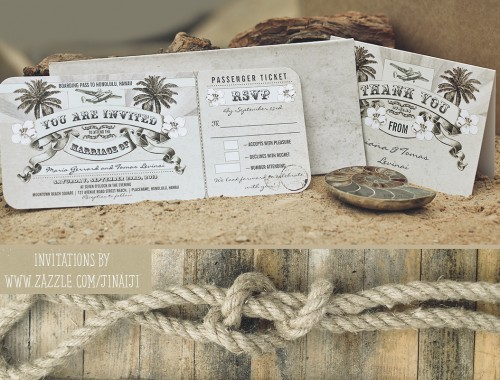 nautical wedding tickets with rsvp - wedding invitations