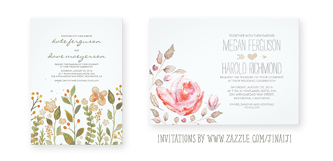 Painted Wedding Invitations: PAINTED WATERCOLOR FLOWERS WREATH