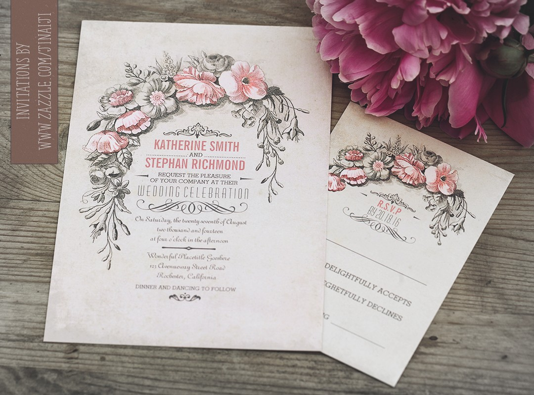vintage wedding invitation with flowers wreath - Wedding Invitations Vintage