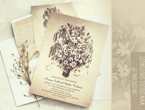 vintage wedding invitation with spring flowers