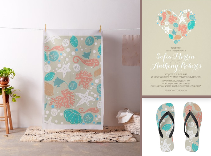 beach wedding custom products and invitation