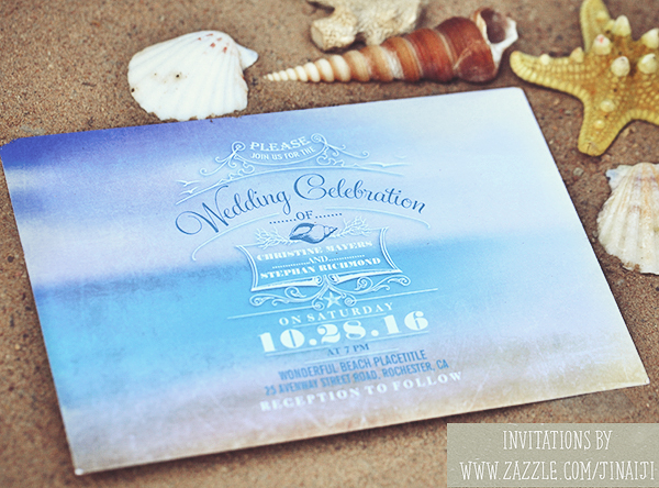 beach wedding invitations romantic