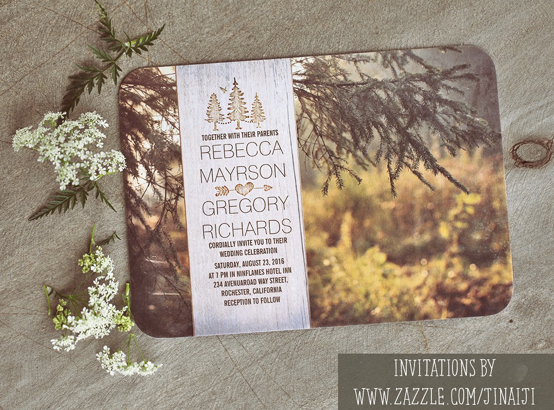 forest wedding invitations with wood