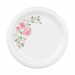 paper plates with watercolor flowers for wedding