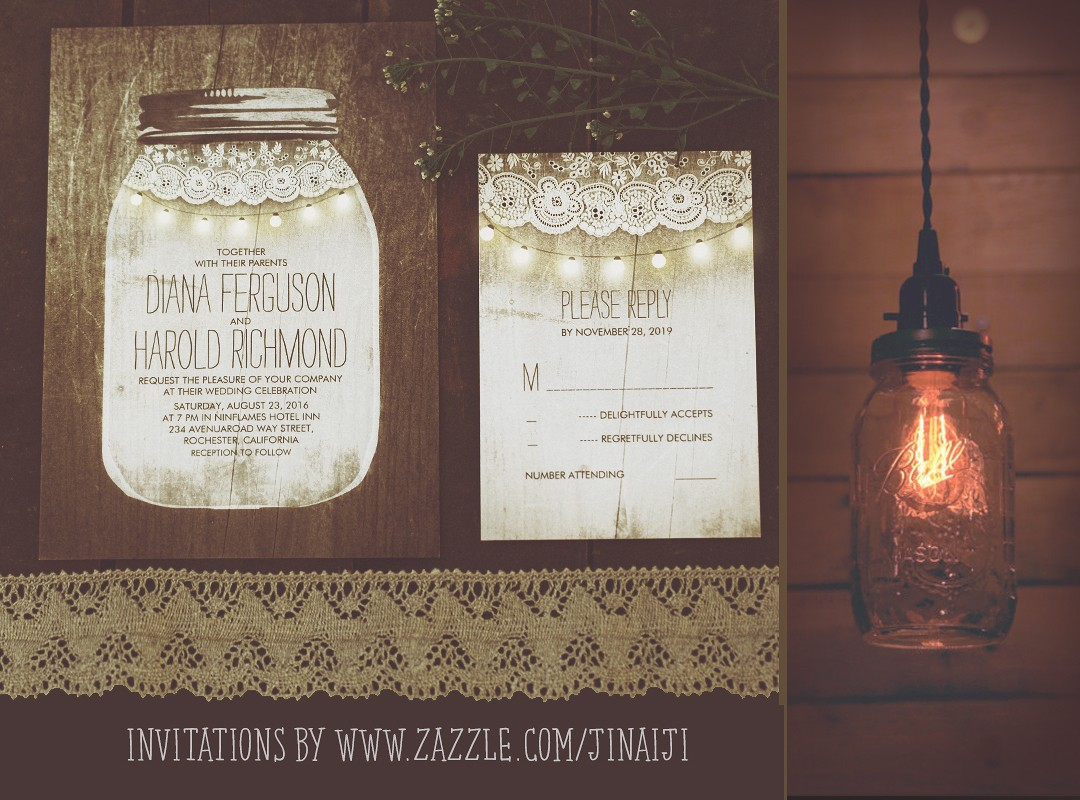 mason jar and string lights wedding invitations