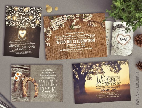 rustic wedding invitations - country and chic