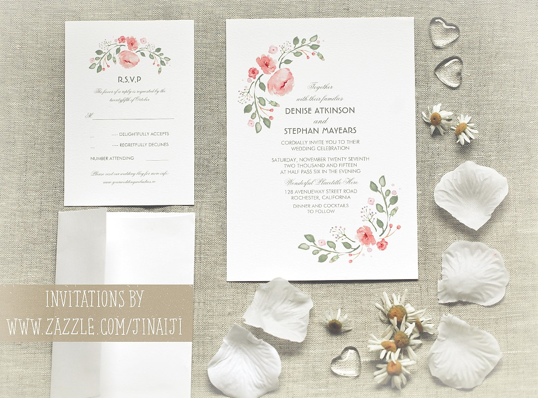 Flower Wedding Invitations Cute Watercolor Flowers Wedding Invitations