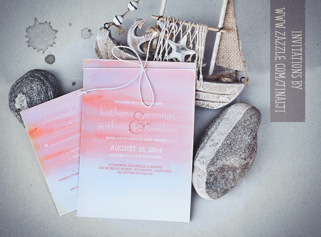 WATERCOLOR BEACH WEDDING INVITATIONS – NEED WEDDING IDEA ?