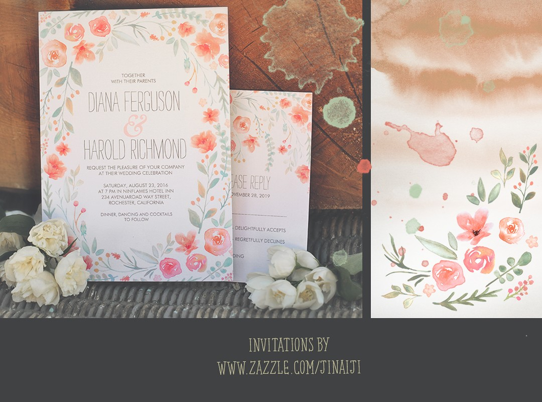 Wreath Wedding Invitation With Watercolor Flowers Need Wedding Idea
