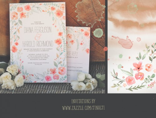 wreath if flowers watercolor wedding invitation 2