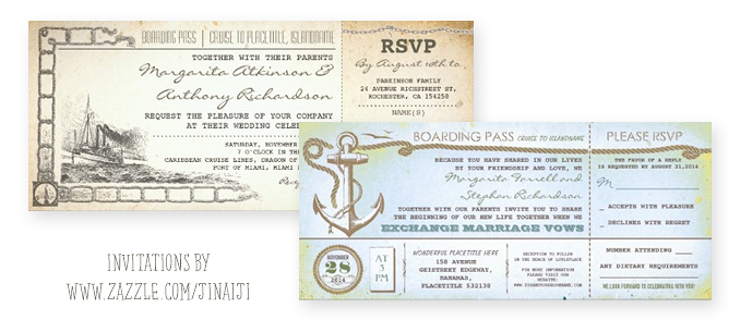 boarding pass tickets for weddings by ship or boat
