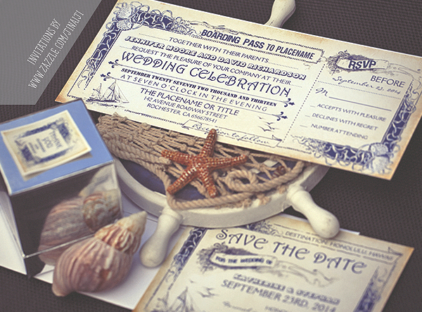 Boarding Pass Tickets Wedding Invitations Cruise Yacht Boat Ship