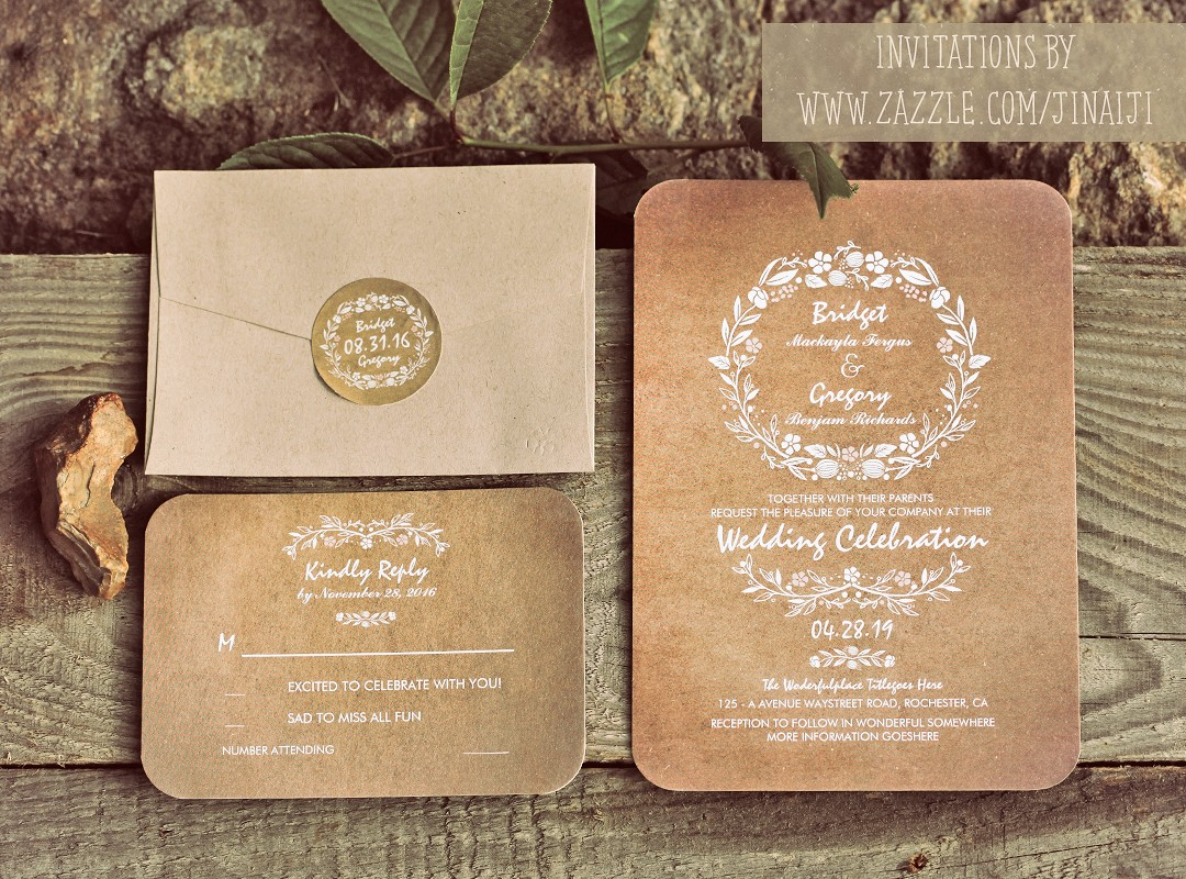 Need wedding idea look at these rustic vintage or modern hand drawn flowers wreath trendy wedding invites monicamarmolfo Gallery