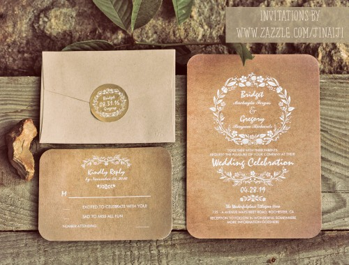 floral wreath laurel wedding invites