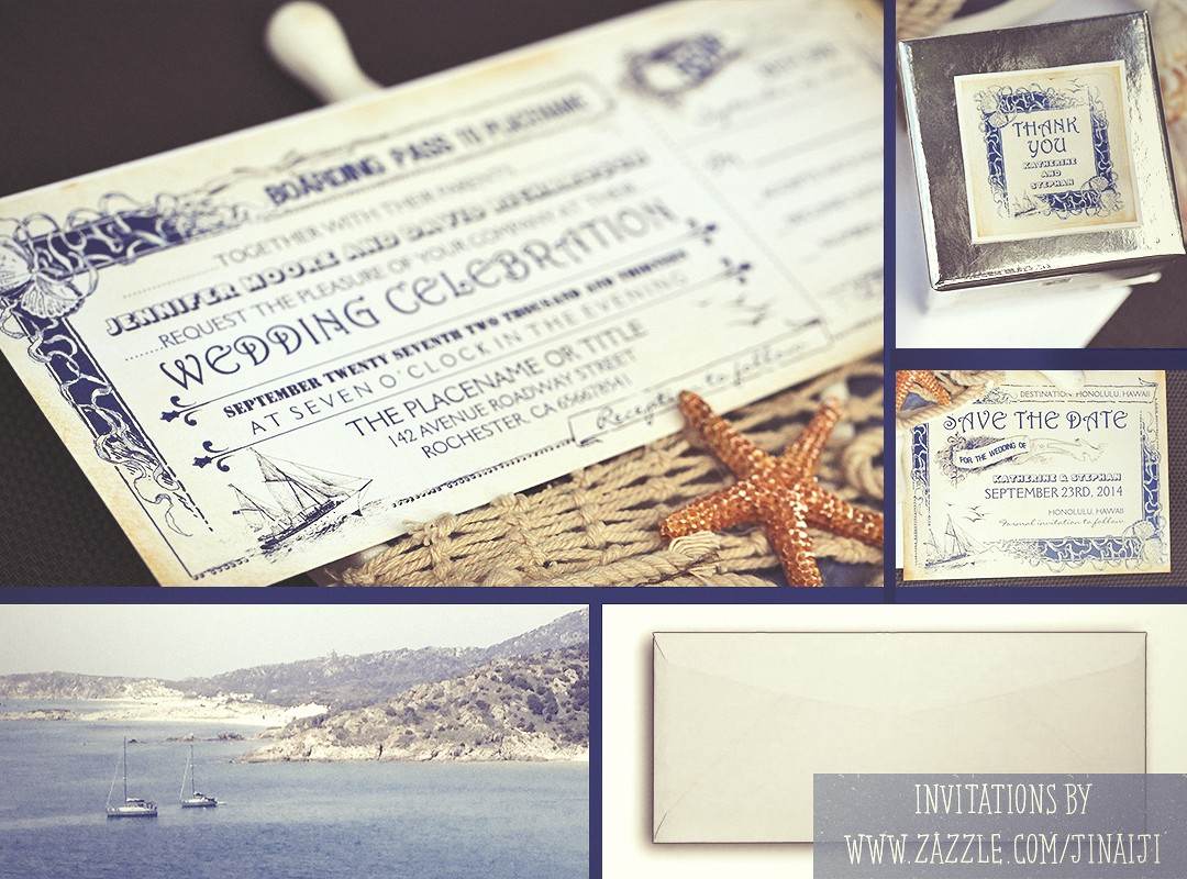 NAUTICAL BOARDING PASS TICKETS WEDDING INVITATIONS NEED IDEA