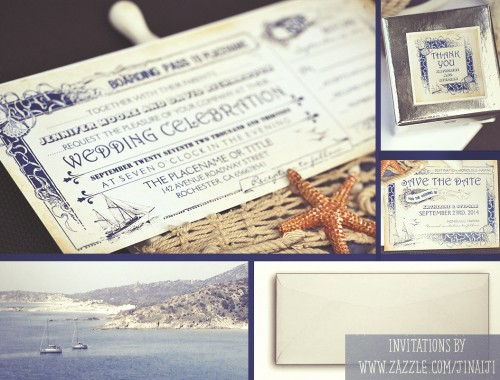 nautical boarding pass tickets destination wedding invites