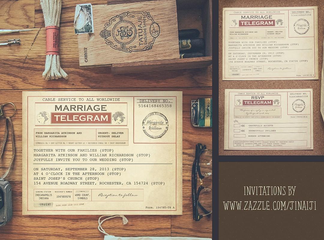 Simple Vintage Wedding Invitations: TELEGRAM WEDDING INVITATIONS